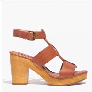 Madewell Sandals Ankle Strap wedge sz:6.5 Tan